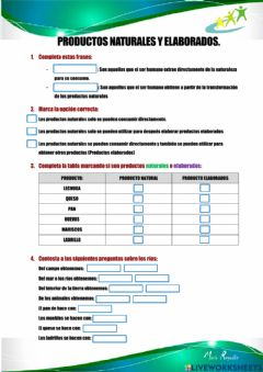Interactive worksheet Productos Naturales y Elaborados