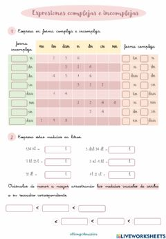 Interactive worksheet Expresiones complejas e incomplejas