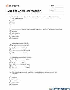 Interactive worksheet Types of reaction