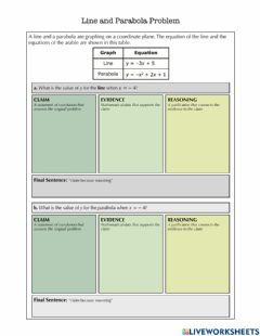 Interactive worksheet Line and Parabola MCAS open response CER