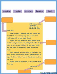 Interactive worksheet Parts of a Letter