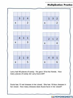 Ficha interactiva Multiplication 3 digit by 1