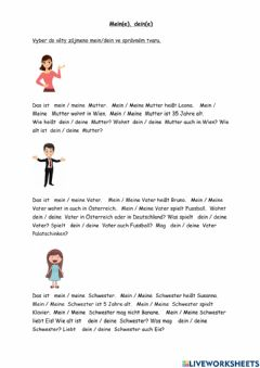 Interactive worksheet Mein, dein
