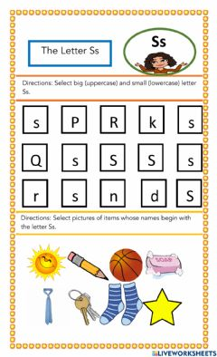 Interactive worksheet The Letter Ss