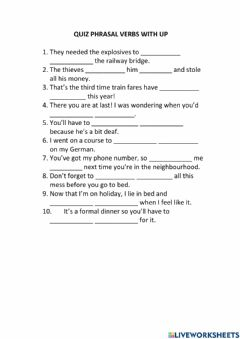 Interactive worksheet Phrasal Verbs with UP