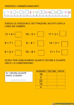 Interactive worksheet Ripasso fino al 20