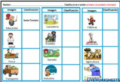 Interactive worksheet sector primario, secundario y terciario