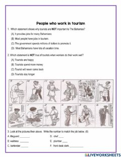 Interactive worksheet People who work in tourism