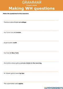 Interactive worksheet Present Simple - Making WH questions