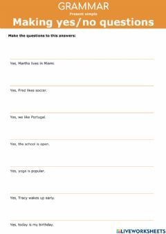 Interactive worksheet Present Simple - Making Yes or No questions