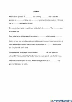 Interactive worksheet Atena