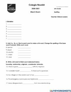 Interactive worksheet Spelling Exam March