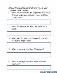 Interactive worksheet Lines and angles