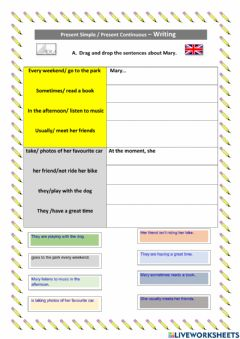 Interactive worksheet Present Simple vs.Present Continuous
