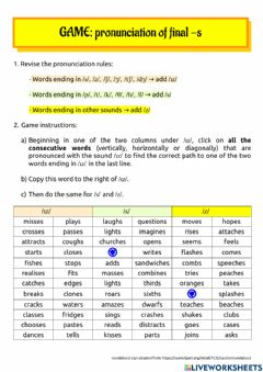 Ficha interactiva Game: pronunciation of final -s or -es