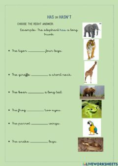 Interactive worksheet Has or hasnt animals