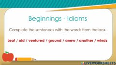 Ficha interactiva Idiomatic expressions about BEGINNINGS