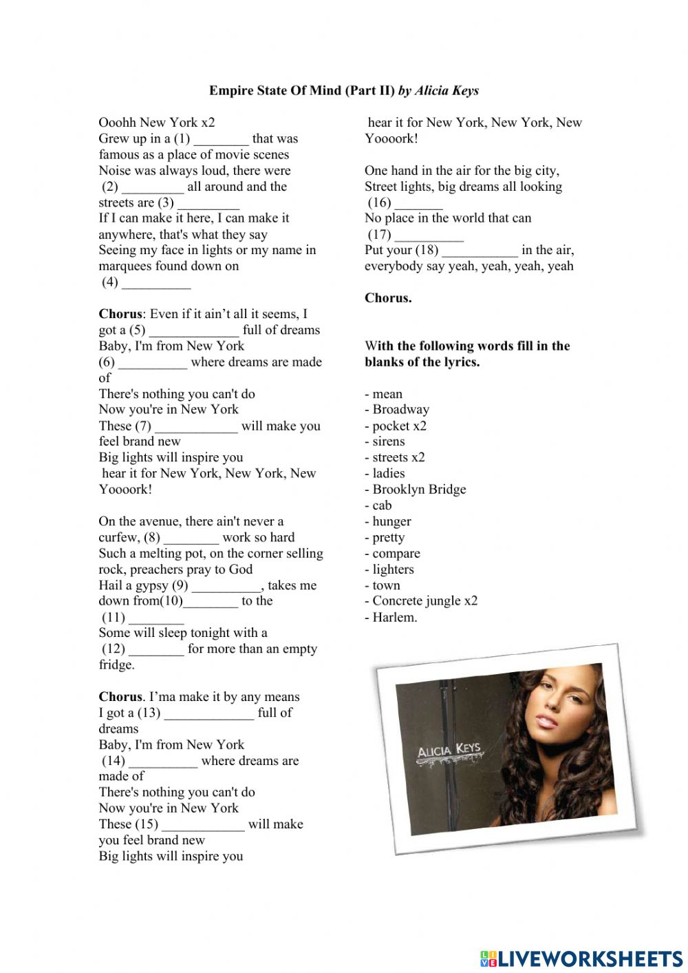Empire State of Mind - Alicia Keys worksheet