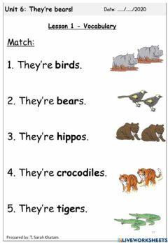 Interactive worksheet They're bears!