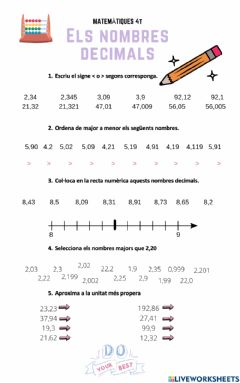 Interactive worksheet Nombres decimals. Ordre i recta numèrica