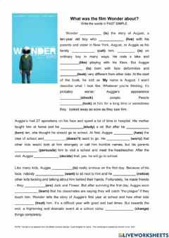 Interactive worksheet Wonder movie -Past simple regular verbs