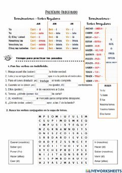 Interactive worksheet Preterito indefinido