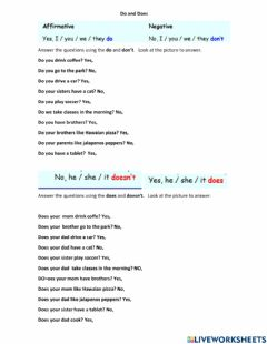 Interactive worksheet Present simple speaking do and does