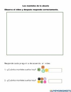 Interactive worksheet La decena : Los manteles