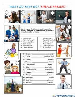 Interactive worksheet Simple presen and occupations