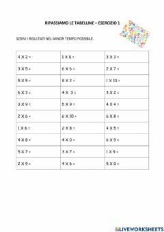 Interactive worksheet Tabelline entro il 6