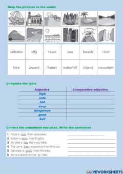 Interactive worksheet Geographic features