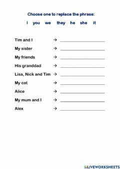 Interactive worksheet Train to replace the phrase with a personal pronoun