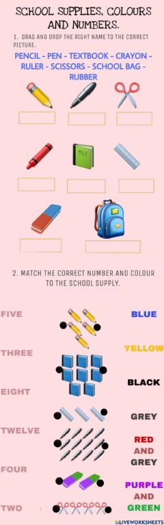 Ficha interactiva School supplies, colours and numbers!