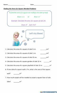 Interactive worksheet Finding the Area of a Square