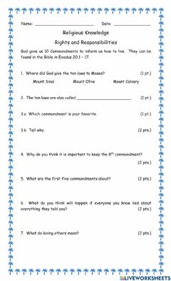 Interactive worksheet Rights and Responsibilities