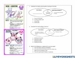 Interactive worksheet Pokemon Compare and Contrast 2