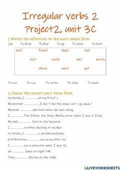 Interactive worksheet Past Simple of Irregular verbs 2 (Project 2 - Unit 3C)