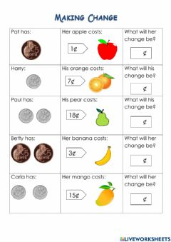 Interactive worksheet Money- Coins