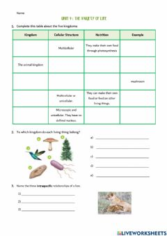 Interactive worksheet Unit 4. The variety of life