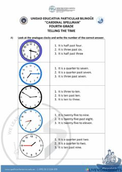 Interactive worksheet Quiz telling the time