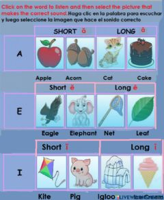 Interactive worksheet Short and long Aa,Ee and Ii