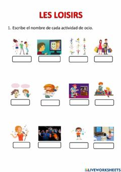 Interactive worksheet Les loisirs pte
