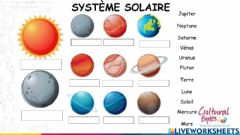 Interactive worksheet Système solaire