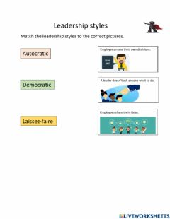 Interactive worksheet Leadership styles SEN