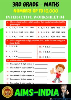 Ficha interactiva 3rd-maths-ps04-numbers upto 10000