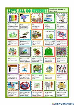 Interactive worksheet Let's all go green