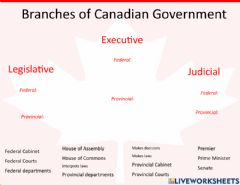 Interactive worksheet Branches of Canada's Government Drag and Drop