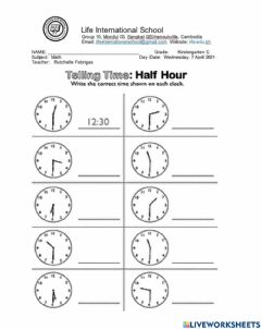 Interactive worksheet Telling Time to half hour