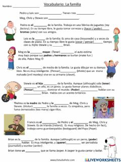 Interactive worksheet Spanish Family Vocabulary with Family Guy