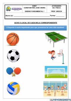 Interactive worksheet Ache o local de cada bola correspondente